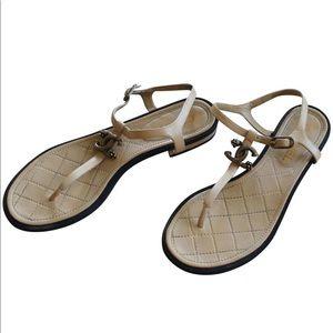 Chanel Beige/Nude Interlocking CC Thong Sandals